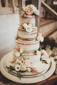 Nearly Naked Wedding Cake With Foliage A Rustic