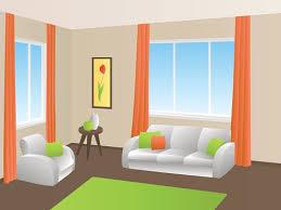 living room interior sofa armchair window illustration