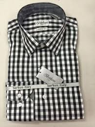 BERLIONI 100 COTTON BLACK WHITE CHECKERED MENS DRESS SHIRT