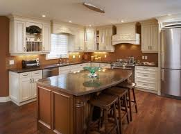 traditional kitchen design with finished wooden island and