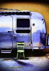 Art Print Painting Retro Airstream Desert Auto Camping Outdoors