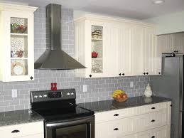Groutless Subway Tile Backsplash by Tiles Backsplash Cool Gray And White Painted Kitchen Cabinets
