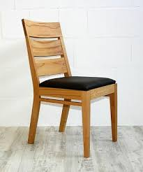 holzstuhl polster stuhl kernbuche mit kunstlederbezug braun