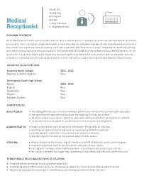 Resume Objective Examples For Gym Receptionist Medical Nice Secretary Of Re General