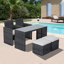 outsunny 5pcs outdoor indoor wicker rattan dining set garden