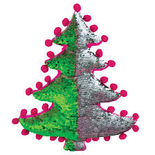Picture Of Christmas Tree Reversible Sequin Pillow