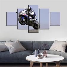 5 panels öl drucke poster motorrad racing leinwand malerei poster wand kunst bild für wohnzimmer dekoration
