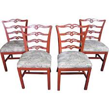 Image Is Loading Four 4 Red Painted Side Dining Room Chairs