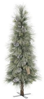 Set 1 60 Artificial Long Needle Pine Slim Line Pencil Christmas Tree Ice