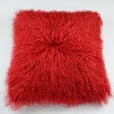 Tibetan Mongolian Lamb Fur Pillow Cover Red 20