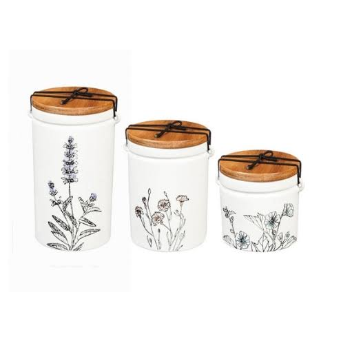 Cypress Home Ceramic Canisters, Set of 3, Stamped Botanical