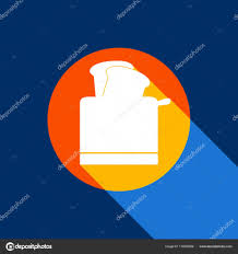 Toaster Simple Sign Vector White Icon On Tangelo Circle With Infinite Shadow Of Light At Cool Black Background Selective Yellow And Bright Navy Blue Are