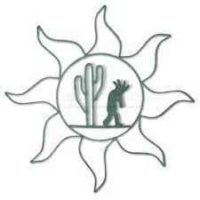 Sunland Home Decor Cowhide Rug by 24in Wrought Iron Sun Kokopelli