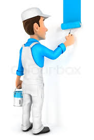 3d Painter Painting Wall Illustration With Isolated White Background Stock Photo