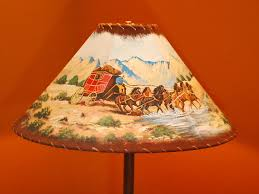Leather And Rawhide Trim Lamp Shade Western Theme With Hand Painted Wagon