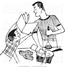 Clip Art of a Retro Black and White Boy Showing a Recipe Book to His Cooking