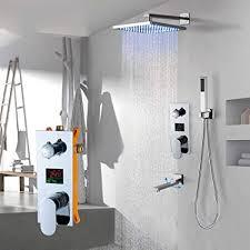 wjsw duschset wandmontage badezimmer regen wasserfall