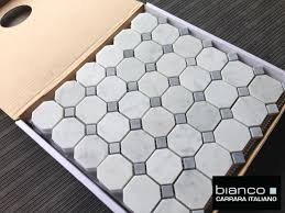 carrara bianco 2 gray dot octagon mosaic tile the builder depot