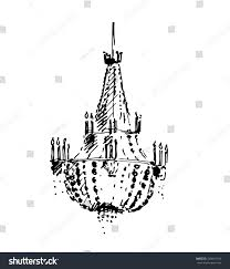 Glamour Hand Draw Chandelier Sketch Vector Illustration