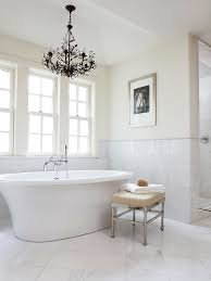 Modern Chandelier Over Bathtub by Bathroom Ottoman Design Ideas