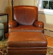 Ethan Allen Swivel Chair by Ethan Allen Leather Club Chair With Ottoman Ebth