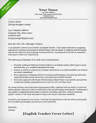 English Teacher Cover Letter Example