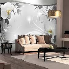 vlies fototapete blumen orchidee silber grau wohnzimmer