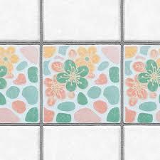 Accent Tiles For Kitchen Backsplash Decorative Tiles Stickers Flower Design Set Of 4 Tiles Tile Decals For Walls Kitchen Backsplash Bathroom Accent Kitchen