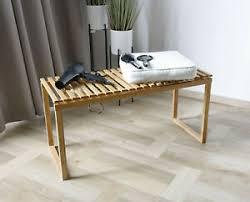 details zu bambus sitzbank bank holz ablagebank für badezimmer garderobe oder schlafzimmer