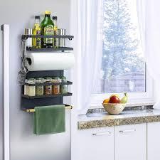 kühlschrank hängeregal kühlschrank gewürzregal regal küche organizer aufbewahrung mit küchenrollenhalter schwarz