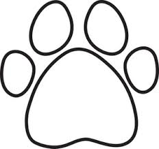 Coloring Page Clipart Image Black And White Dog Paw Print