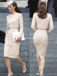 kate middleton modest lace evening dresses 2015 sheath scoop long