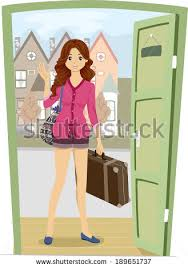 Illustration of a Girl Carrying a Piece of Luggage ing Home for a Visit