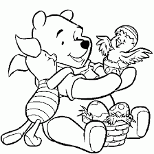 This Is An Easter Colouring Sheet Of Winnie The Pooh And Piglet
