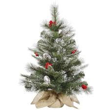 Shop Online For This Durable 24 Inch Frosted Pine Berry Trees Tabletop Tree Artificial Christmas