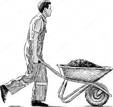 Laborer with a wheelbarrow — Stock Vector