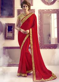 buy blood red embroidered chiffon saree with blouse online