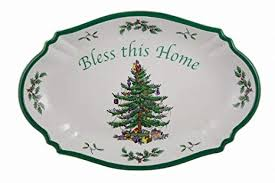 Spode Christmas Tree Bless This Home Tray 11 Inch L X 7 W