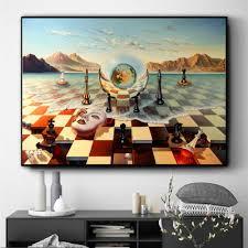 surreal stadt schach strand set wand kunst leinwand malerei