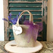 Rustic Flower Girl Purple Tulle Basket
