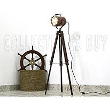 Photographers Tripod Floor Lamp Bronze Finish by Designer Nautical Spotlight Collectable Searchlight Spot Light