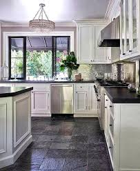 Picture Of Kitchen Slate Flooring With White Cabinets Black Tile Floor Full Size