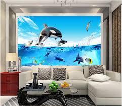 chambre dauphin 3d chambre papier peint personnalisé photo mural aquarium de