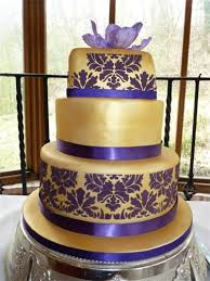 Opulent Gold And Purple Wedding Cake