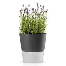 blumentopf selbstbewässernd übertopf dekoration pflanzen wohnzimmer küche gefrostetes glas nylonschnur kunststein steingrau ø 20 5