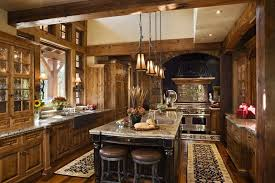 Luxurious Rustic U Shaped Kitchen With Natural Wood Throughout