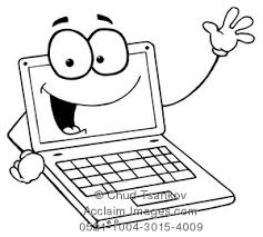 Clipart Image of Black and White Smiling and Waving Laptop puter