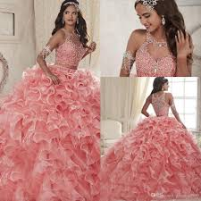quinceanera dresses blush scoop organza ball gown prom dresses