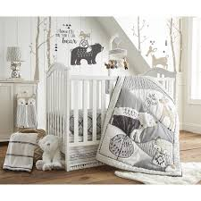Woodland Crib Bedding Sets by Levtex Baby Bailey Charcoal And White Woodland Themed 5 Piece Crib
