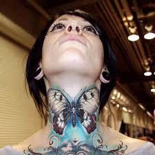 Attractive Butterfly Tattoo On Girl Neck